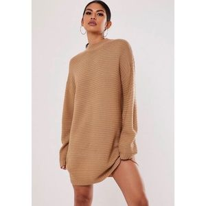 Camel High Neck Ribbed Mini Dress
